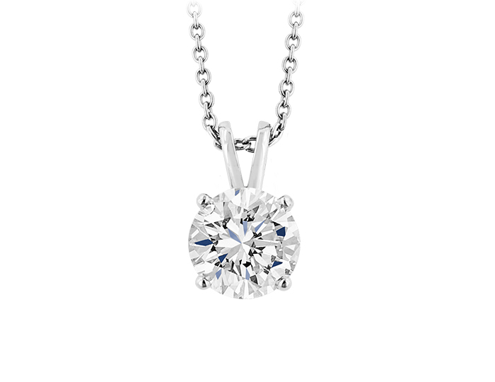 Round brilliant cut diamond solitaire pendant in platinum.                                                     In stock from $950 to $17,300.