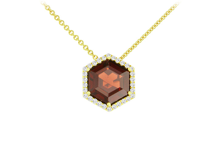 Hexangonal shape garnet and round brilliant cut diamond pendant in 18k yellow gold.