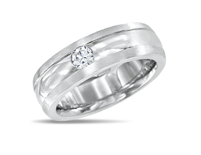 Men's round brilliant cut diamond wedding band in 18k white gold.