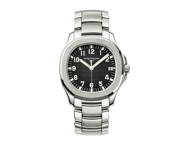 Patek Philippe Aquanaut men's stainless steel mechanical self-winding bracelet watch featuring sweep second hand with a black embossed dial. (5167/1A-001)