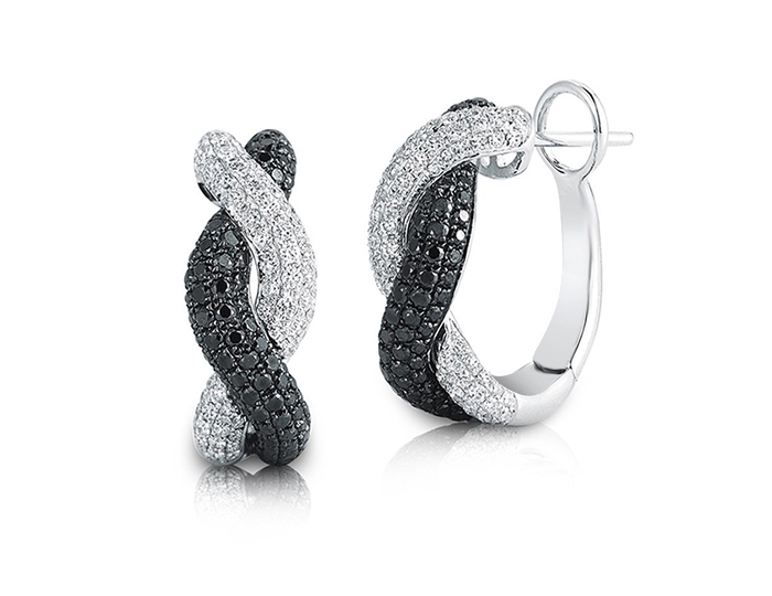 Roberto Coin black and white diamond earrings in 18k white gold.