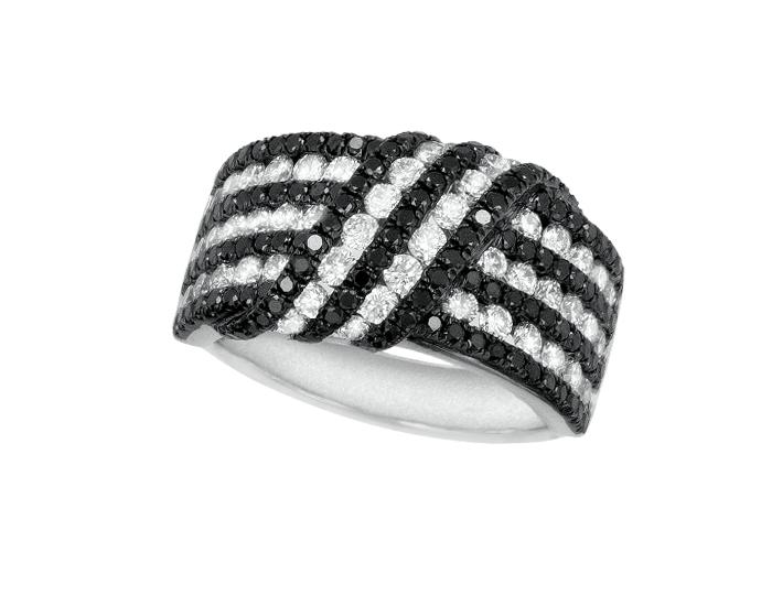 Roberto Coin Fantasia Collection round brilliant cut white diamond and black sapphire ring in 18k white gold.