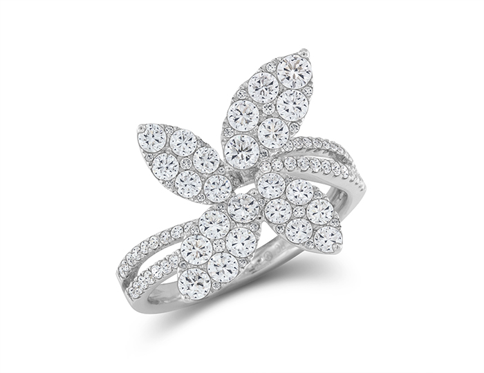 Roberto Coin round brilliant cut diamiond flower ring in 18k white gold.