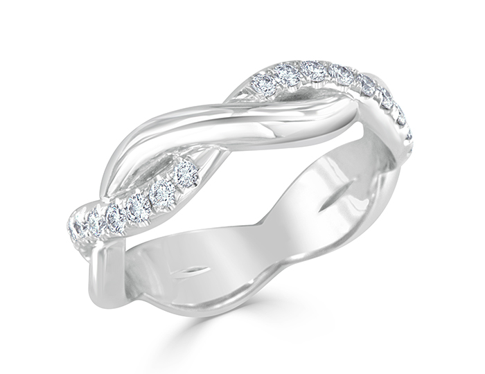 Round brilliant cut diamond wedding band in 18k white gold.