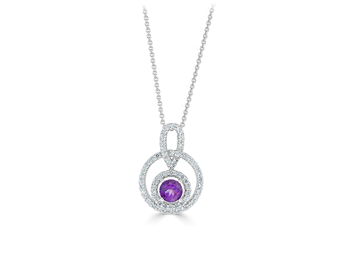 Amethyst and round brilliant cut diamond pendant in 18k white gold.