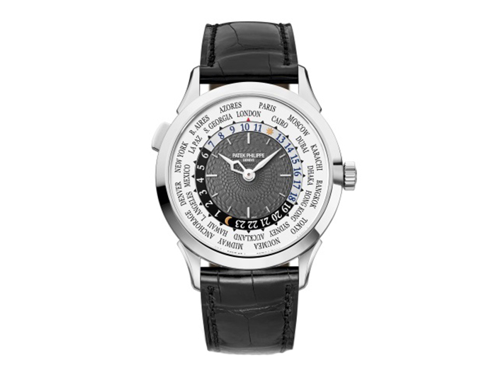 Patek Philippe Complicated mens 18k white gold mechanical self-winding watch featuring a world time function with charcoal grey dial. (5230G-001)