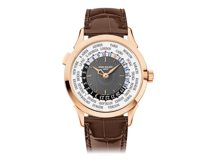 Patek Philippe Complicated mens 18k rose gold mechanical self-winding watch featuring a world time function with charcoal grey dial. (5230R-001)
