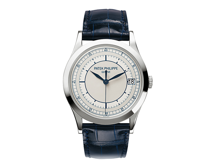 Patek Philippe Calatrava men's 18k white gold mechanical self-winding strap watch featuring date in an aperture with a 2-tone silvery-gray dial with blue transfer-printed dial.  (5296G-001)