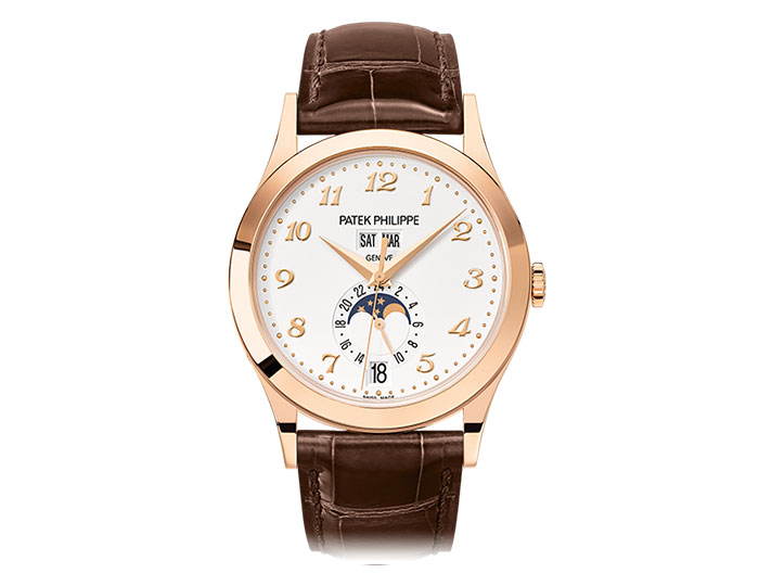Patek Philippe annual calendar men's 18k rose gold mechanical self-winding strap watch featuring day, date and month in apertures, moon phases and 24-hour indication with a silvery opaline dial. (5396R-012)