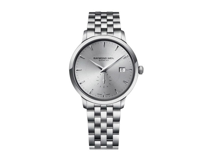 Raymond Weil Toccata men's stainless steel 39mm bracelet watch featuring a grey dial. (5484-ST-65001)