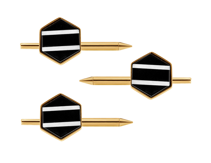 Black onyx and mother of pearl tuxedo stud set in 14k yellow gold.