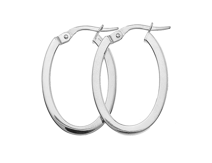 Roberto Coin 18k white gold hoop earrings.