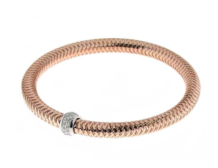 Roberto Coin Primavera Collection round brilliant cut diamond bracelet in 18k rose gold.