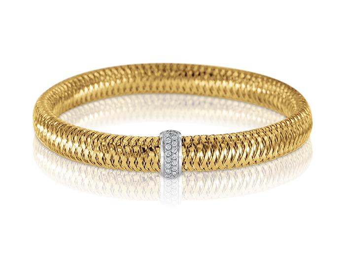 Roberto Coin Primavera Collection round brilliant cut diamond bracelet in 18k yellow gold.