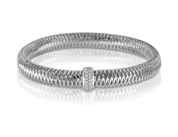 Roberto Coin Primavera Collection round brilliant cut diamond bracelet in 18k white gold.