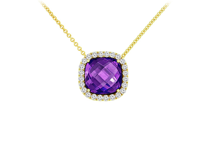 Cushion cut amethyst and round brilliant cut diamond pendant in 18k yellow gold.
