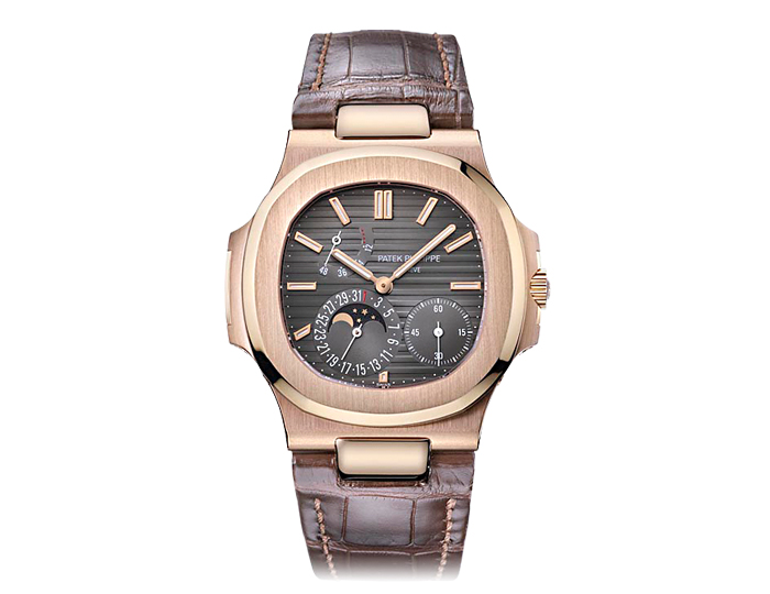 Patek Philippe Nautilus men's 18k rose gold mechanical self-winding strap watch featuring date, moon phase, and power reserve indications with a black-brown dial. (5712/R-001)