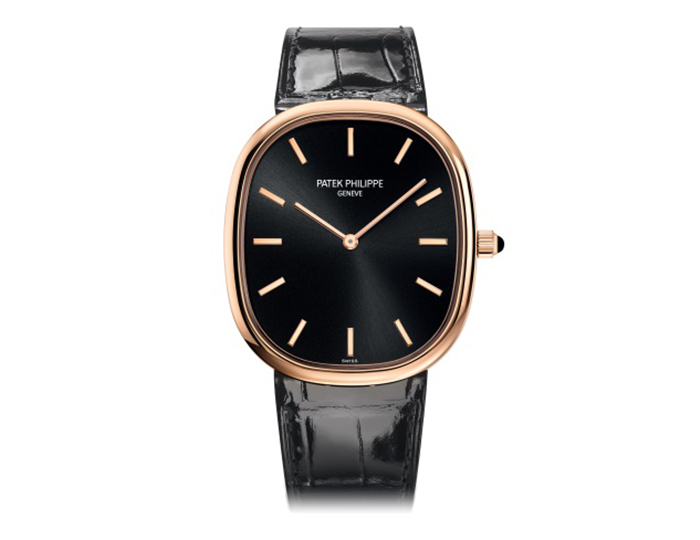Patek Philippe Golden Ellipse mens 18k rose gold mechanical self-winding strap watch featuring a ebony black sunburst dial. (5738R-001)