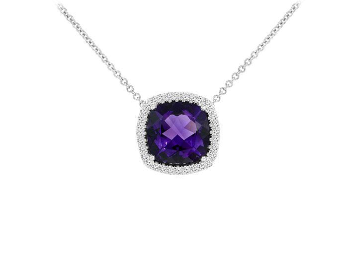 Cushion cut amethyst and round brilliant cut diamond pendant in 18k white gold.