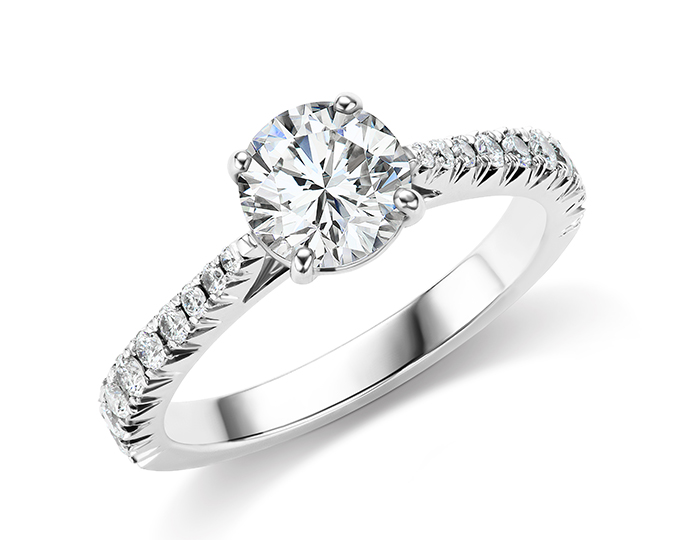Round brilliant cut diamond engagement ring in platinum.