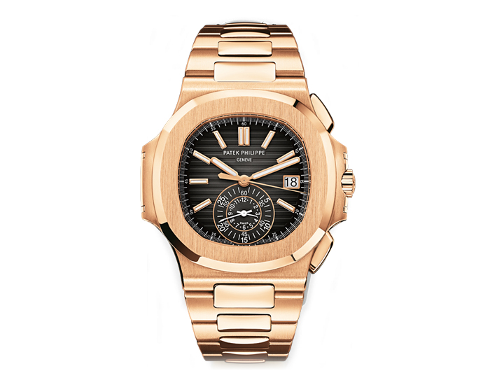 Patek Philippe Nautilus men's 18k rose gold mechanical self-winding chronograph bracelet watch featuring date and 60-minute and 12-hour monocounter at 6 o'clock with a black gradient dial (5980/1R-001)