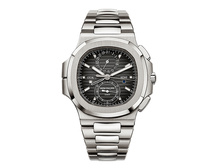 Patek Philippe Nautilus travel time chronograph men's stainless steel mehanical selfwinding bracelet watch featuring a 60-minute counter, dual time zone mechanism indicating local and home time with a black gradated dial. (5990/1A-001)