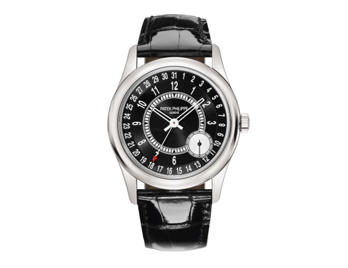 Patek Philippe Calatrava mens 18k white gold mechanical self-winding aligator strap watch featuring date by hand, seconds subdial, ebony black sunburst with silvery gray dail. (6006G-001)