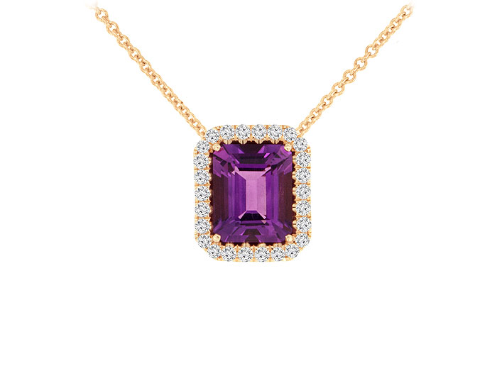 Emerald cut amethyst and round brilliant cut diamond pendant in 18k rose gold.