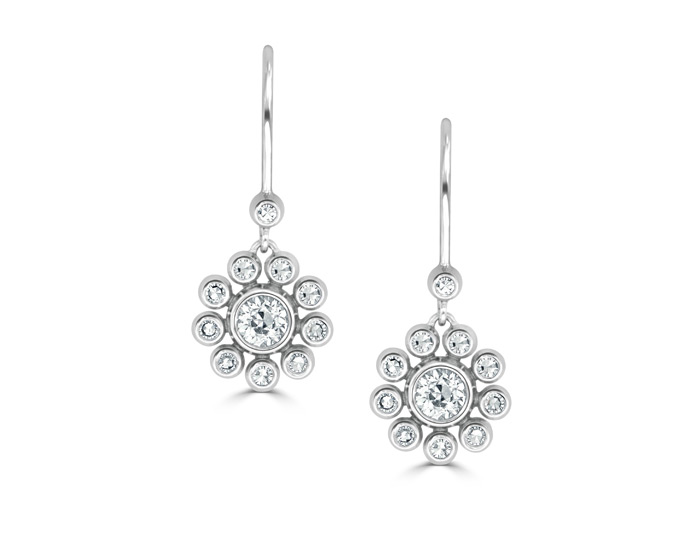 Old european cut and single cut diamond earrings in 18k white gold.