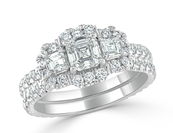 Asscher cut and round brilliant cut diamond engagement ring in 18k white gold.