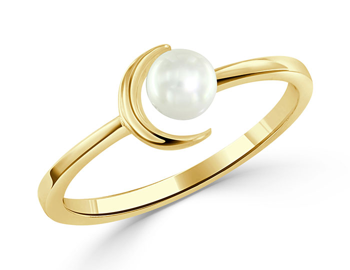 Cultured pearl ring in 14k yellow gold.