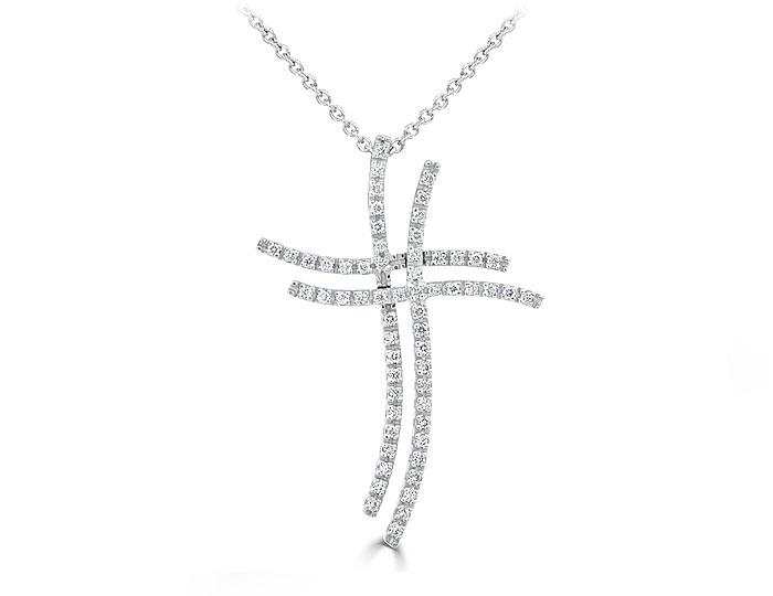 Round brilliant cut diamond cross pendant in 18k white gold.