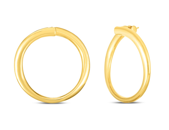 Roberto Coin 18k yellow gold hoops.
