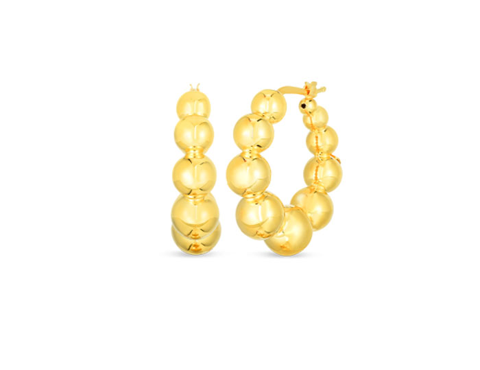 Roberto Coin 18k yellow gold beaded earrings.