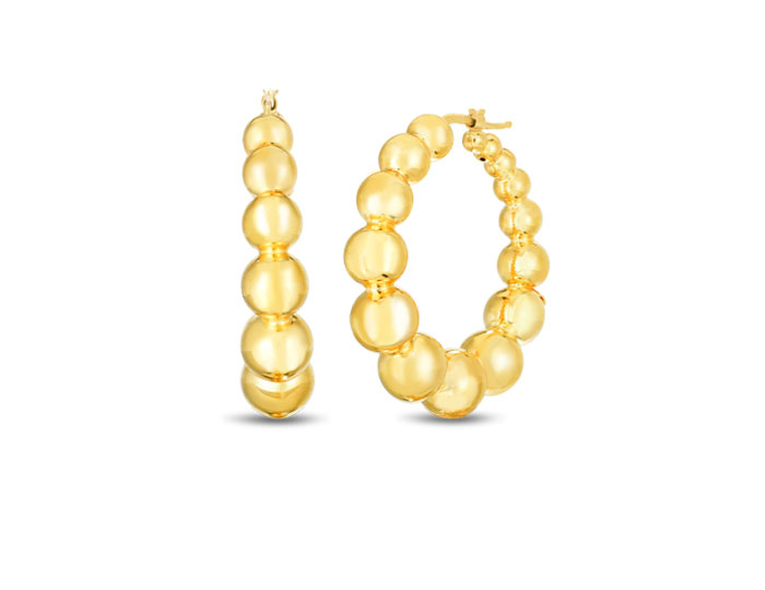 Roberto Coin 18k yellow gold beaded hoops.