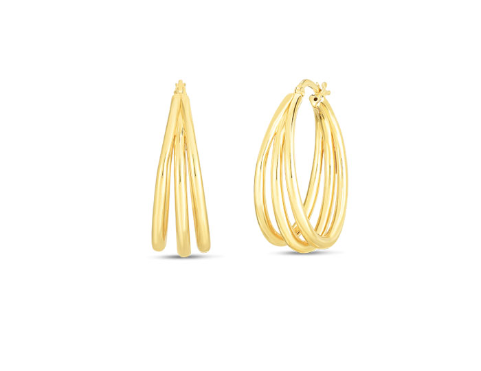 Roberto Coin 18k yellow gold triple hoops.