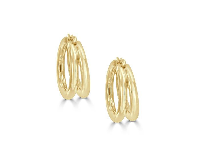 Roberto Coin Bold Gold collection hoop earrings in 18k yellow gold.