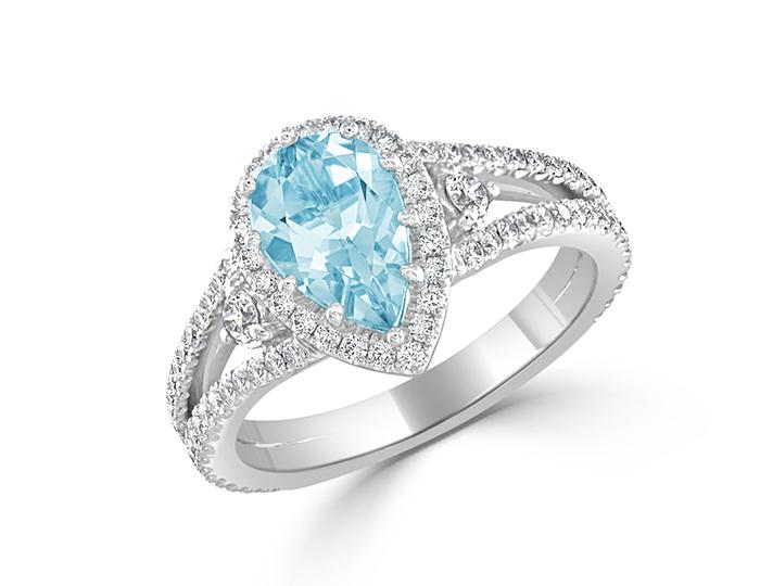 Aquamarine and round brilliant cut diamond ring in platinum.