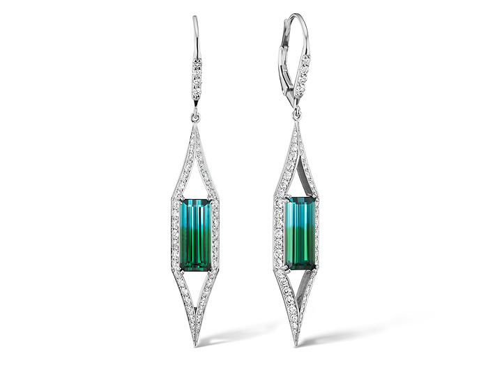 Emerald cut bi-color tourmaline and round brilliant cut diamond earrings in 18k white gold.