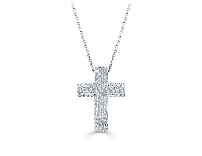 Princess cut and round brilliant cut diamond cross in 18k white gold.