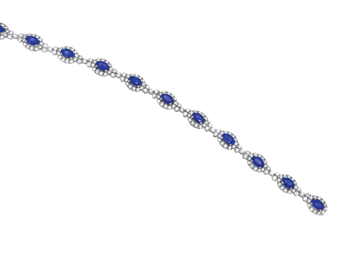 Sapphire and round brilliant cut diamond bracelet in 18k white gold.
