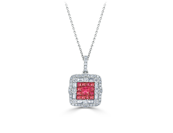 Ruby and round brilliant cut and baguette cut diamond pendant in 18k white gold.