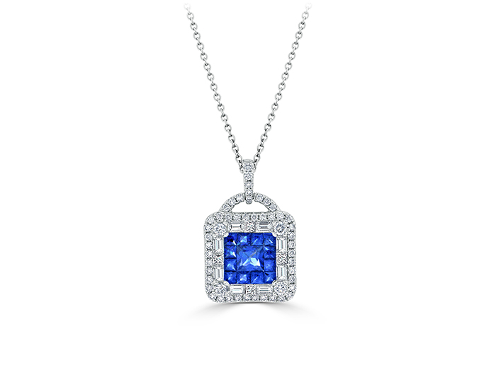 Sapphire and round brilliant cut and baguette cut diamond pendant in 18k white gold.