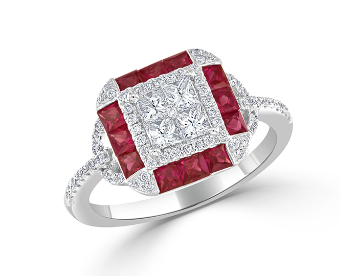 Ruby and diamond ring in 18k white gold.