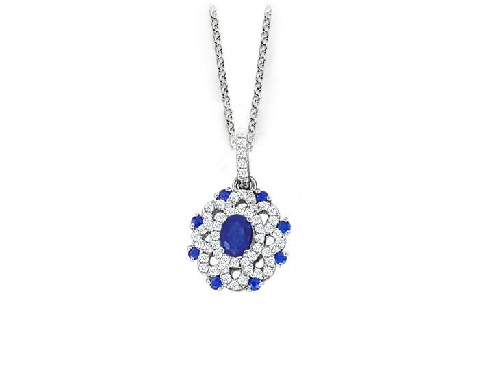Sapphire and round brilliant cut diamond pendant in 18k white gold.