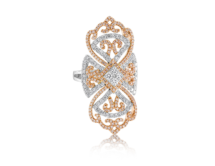 Round brilliant cut diamonds and pink diamonds in 18k white and rose gold.