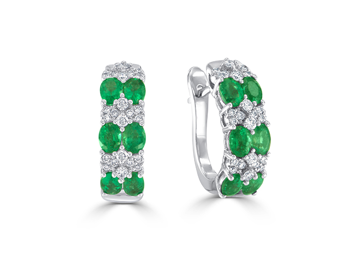 Emerald with round brilliant cut diamond earrings in 18k white gold.