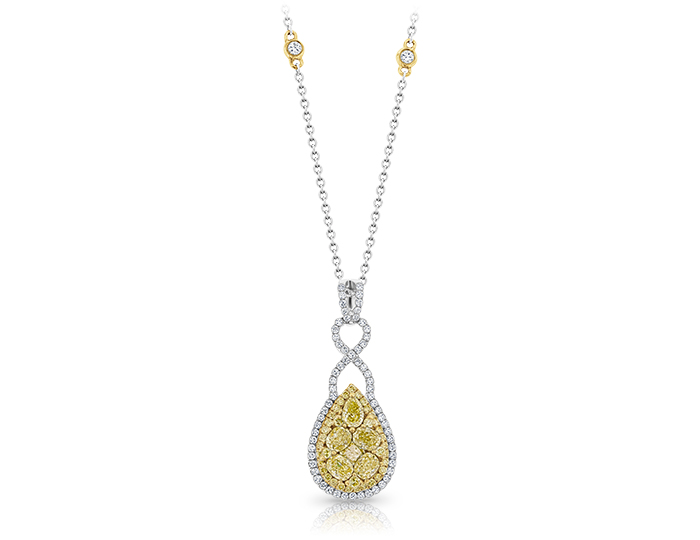Yellow and white diamond pendant in 18k yellow and white gold.