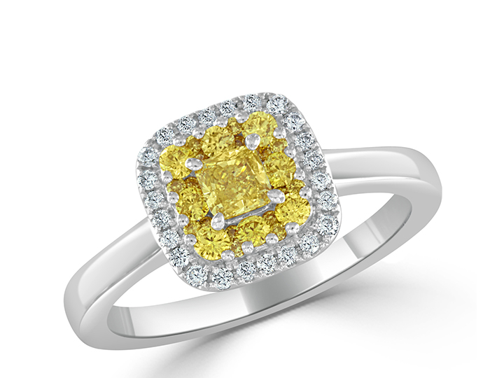 Princess cut and round brilliant cut light yellow and round brilliant cut diamond engagement ring in 18k white gold.