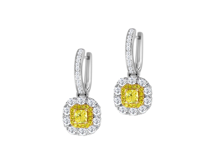 Cushion cut yellow diamond and white and yellow round brilliant cut diamond earrings in 18k white and yellow gold.